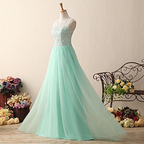 KekeHouse® Lang Tüll Spitze Kleid Abendkleid Abschlussball Kleid für ...