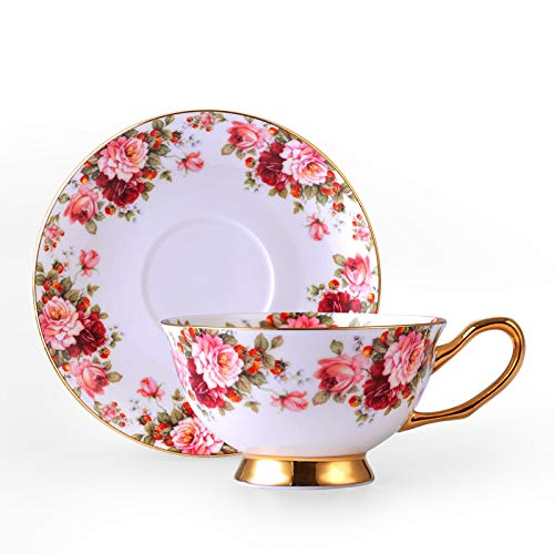 Teacup China Floral (Porcelain Tea Cup Set with Saucer and Spoon by Wandeful, Floral Tea Cups, Cappuccino Cups, Latte Cups, Tea Set for Adults, Tea Cups for Tea Party, Rose Teacups, China Tea Cups)
