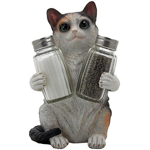 Playful Calico Kitty Cat Glass Salt and Pepper Shaker Set with Decorative Holder Sculpture in Kitten Statues & Figurines and Unique Kitchen Table Decor Gifts for Pet Lovers by Home-n-Gifts -
