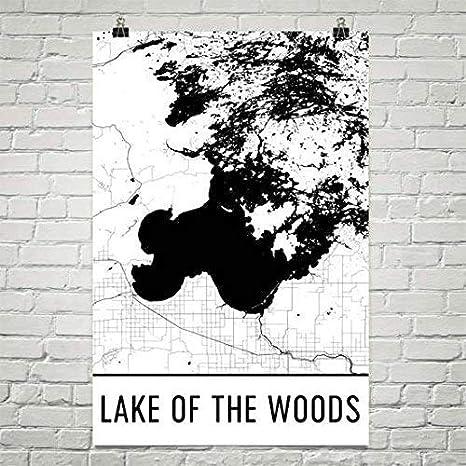 Carte Moderne Art lac des Bois Minnesota, décor de Maison de lac, Vie de lac, Art Mural de lac, lac des Bois MN, Carte du Minnesota, Carte Nautique, Affiche de Peinture de lac 24'x36 décor de Maison de lac Affiche de Peinture de lac 24x36