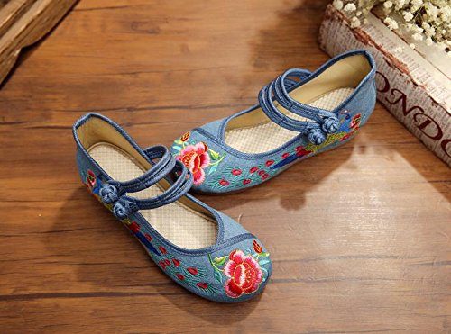 Ocasional zl c¨®modo del ¨¦tnico aumentados lenguado Zapatos xiezi blue Manera Femeninos Lino Estilo Zapatos Tend¨®n jeans Bordados 6wOAqd