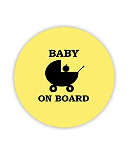 BABY ON BOARD (Yellow BDG with Pram) Button Badge 38mm Pin Back Lapel