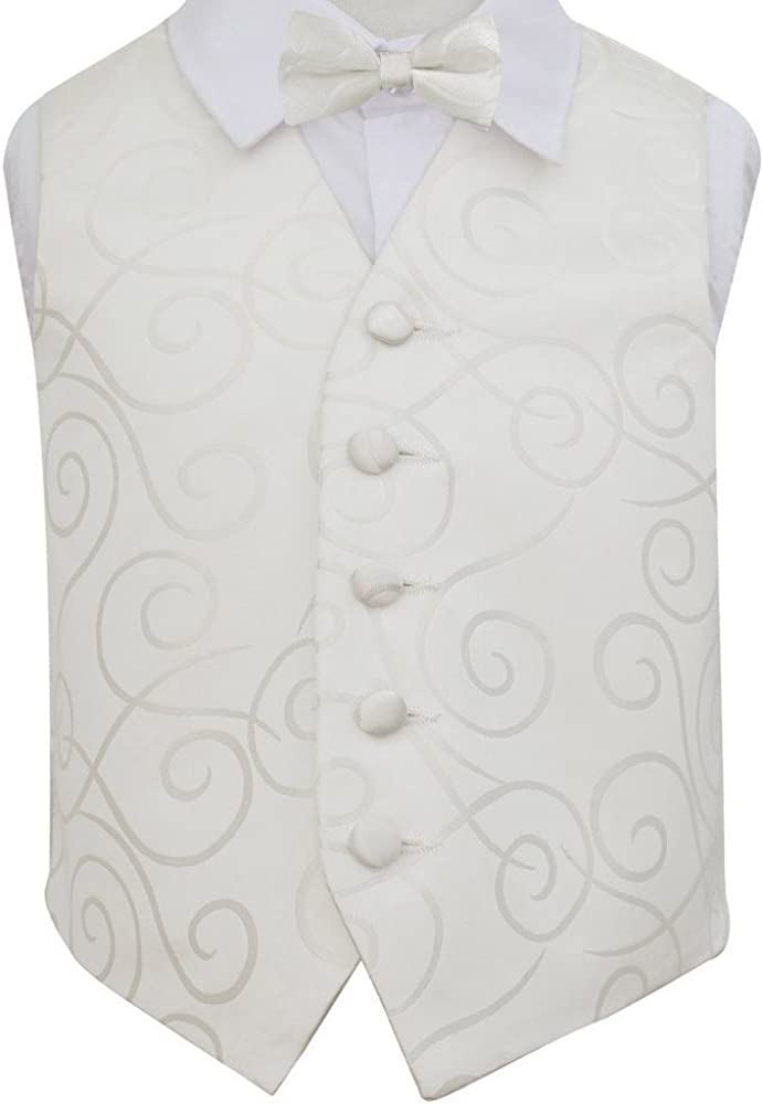 DQT Woven Scroll Patterned Ivory /& Hot Pink Boys Wedding Waistcoat 2-14 Years