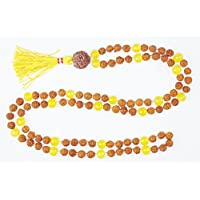 YOGA JAPAMALA Meditation Rudraksha Yellow Jade Beads Necklace Malabeads 108+1