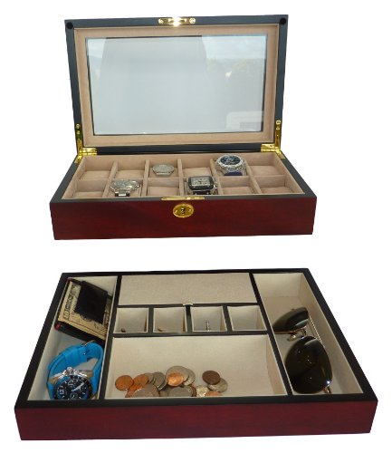 Two Piece Men's Executive Gift Set Cherry Wood Valet Tray and 12 Slot Watch Display Case Box Glass Top by TimelyBuys