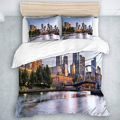 CANCAKA Decor Duvet Cover Set,City Early Morning Scenery in Melbourne Australia Famous Yarra River Scenic Orange Green Pale Blue,Decorative 3 Piece Bedding Set with 2 Pillow Shams,King Size (King Australia Comforter Sets)