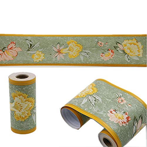 Mullsan 10Meters Chrysanthemum Wallpaper Border Peel & Stick Wall Covering Kitchen Bathroom Bedroom Tiles Decor Sticker