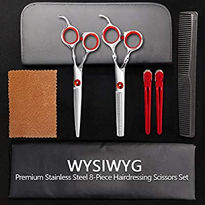 Haircut Scissors Kit/Professional Hair Cutting Scissors Set/Thinning Shears/Salon Hairdressing Scissors Barber Tools/Texturizing Texturing Stainless Steel Sharp Wide Tooth Contain Cape