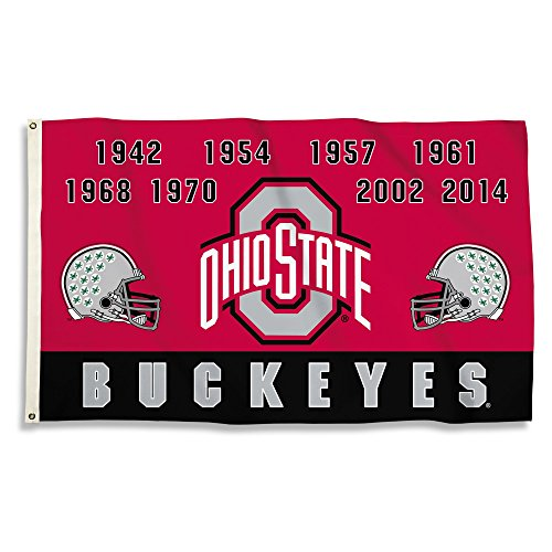 College 2 Sided Banner Flags - NEOPlex 3' x 5' Premium College Flag - Ohio State Buckeyes Championship Years