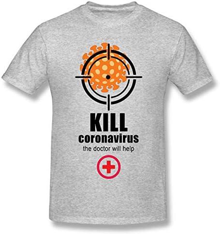 YDXH Nuevo Coronavirus del Patrón De La Camiseta COVID-19 Impreso De Análisis De La Manga Corta De La Camiseta