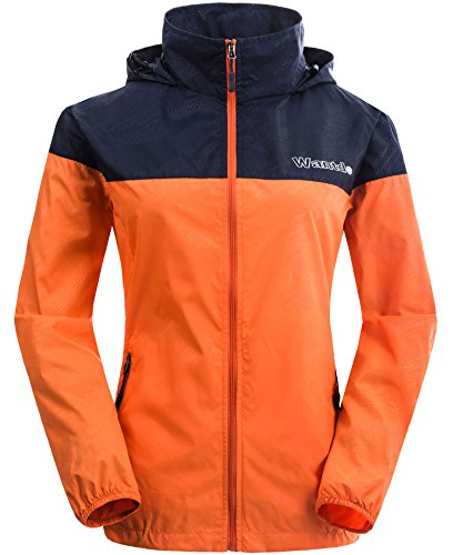 Wantdo Women's Packable UV Protect Quick Dry Outdoor Windproof Lightweight Skin Jacket Navy Orange US M (Hiking Clothing)