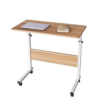 SogesFurniture Mesa Portátil Ordenador Ajustable con Ruedas, 80 * 40cm Mesa sofá Mesa de Escritorio para Cama o Sofá, Roble 05#1-80OK-BH: Amazon.es: Hogar