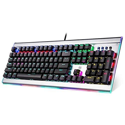Teclado mecánico para juegos HP - Teclado USB retroiluminado RGB con cable con interruptores lineales negros - Teclas anti-fantasma completas con panel de metal resistente a los arañazos para PC, computadora, computadora portátil