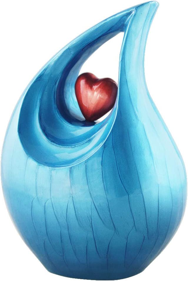 Handcrafted Double Heart, Sea Blue Metal - Cremation Urn for Human Ashes Adults Large - Funeral Urn for Men and Women - Display Burial at Home or in Niche at Columbarium, Urn for Ashes Mother /Father