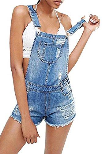- Misassy Womens Ripped Denim Bib Overall Shorts Summer Maternity Juniors Distressed Jeans