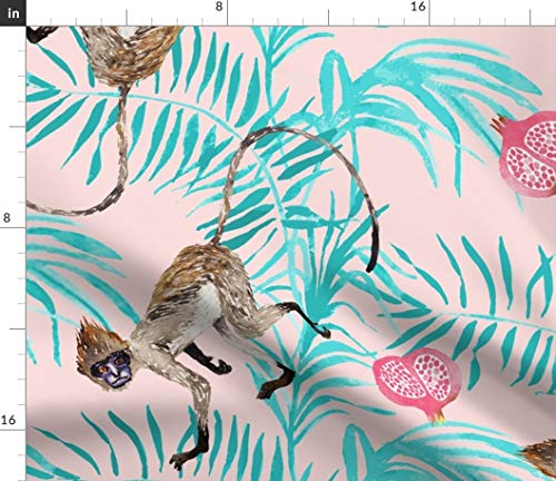 Monkey Drapery Fabric - Monkey Fabric - Fruity Monkeys (Large) (Rose Quartz) Tropical Jungle Fruit Palm Tree Pomegranate Print on Fabric by the Yard - Basketweave Cotton Canvas for Upholstery Home Decor Bottomweight Apparel