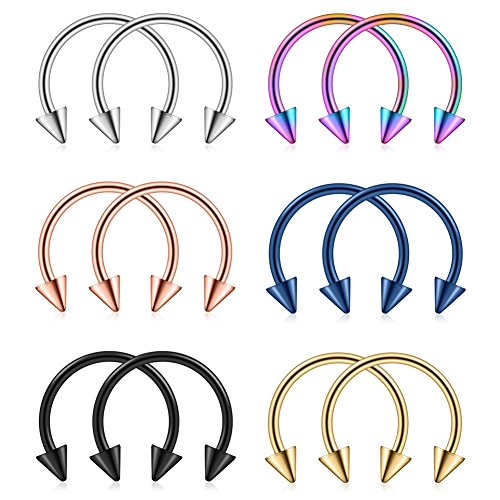 Spike Circular Horseshoe (Ruifan 316L Surgical Steel CBR Horseshoe Circular Rings Nose Eyebrow Tragus Lip Ear Hoop Ring Piercing With 3mm Spikes 20G 8MM 12PCS)
