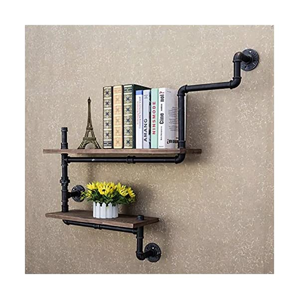Reclaimed Wood & Industrial Heavy Duty DIY Pipe Shelf Shelves Steampunk Rustic Urban Bookshelf Real Wood Bookshelves and bookcases (2 Tier) 4