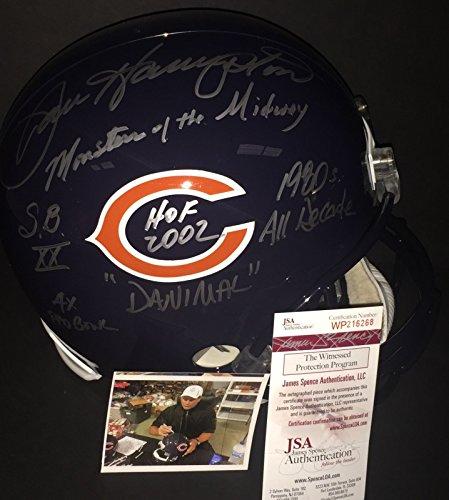 Hampton Helmet (Dan Hampton Chicago Bears Signed Full Size Helmet 6 INSCRIPTIONS VERY RARE JSA)