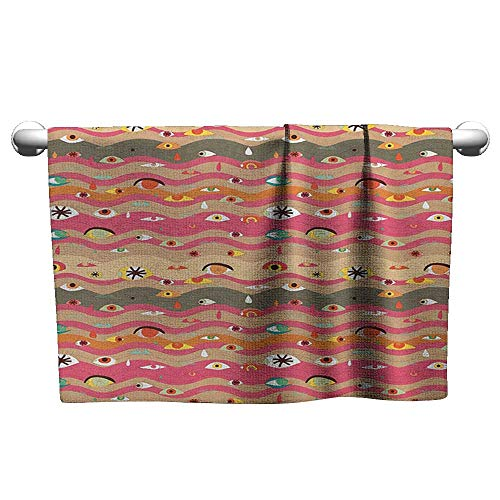- Tankcsard Baby Bath Towel Eye,Psychedelic Groovy Abstract Composition with Various Eyes Wavy Color Lines Hippie Art, Multicolor,Towel Dress for Girls