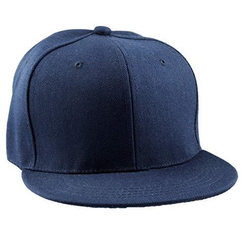 Samtree Women Men Snapback Hats,Patchwork Solid Color Flat Bill Baseball Cap(01-Navy Blue)