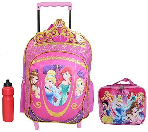 New Disney Princess Ariel Cindirella Large Rolling Backpack