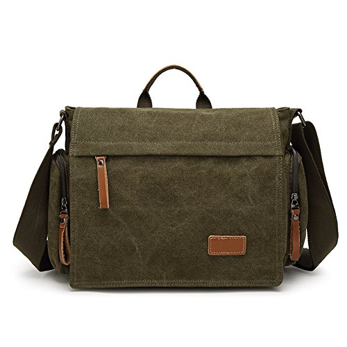 MiCoolker Canvas Crossbody Laptop Messenger bag for Men Over the Shoulder Travel Purse Vintage Handbag Briefcase Outdoor Sports Satchel Bags Army Green