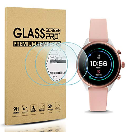 Diruite 3-Pack for Fossil Sport 41mm 2018 Gen 4 Screen Protector Tempered Glass [2.5D 9H Hardness] [Anti-Scratch] [Bubble-Free] - Permanent Warranty Replacement