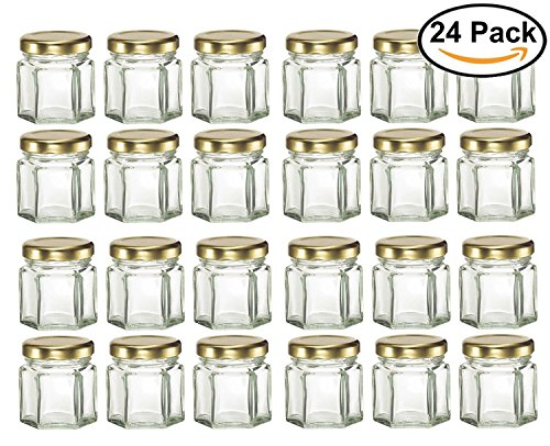 GYBest LJP 24 Pack 1.5 Ounce Hexagon Glass Jars with Gold Pl