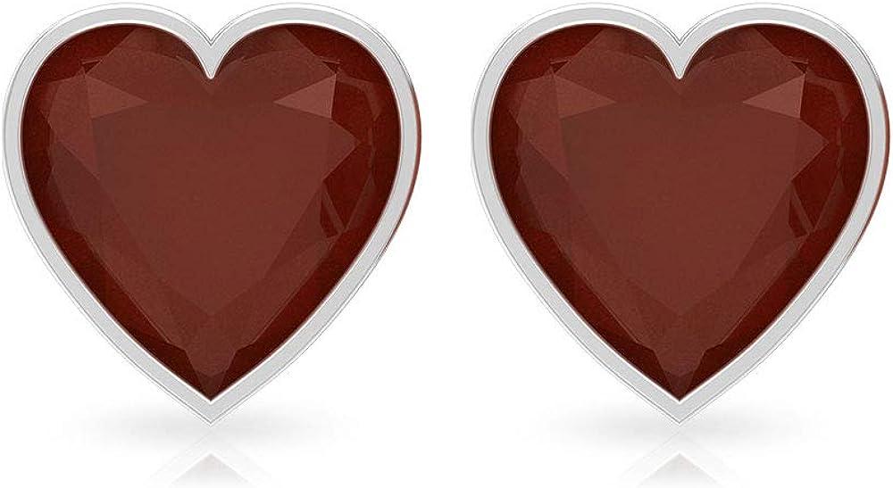 Pendientes de tuerca de ónix rojo con certificación SGL de 3 quilates, forma de corazón, pendientes de declaración de piedra preciosa, pendientes de boda, 18K Oro blanco, Par