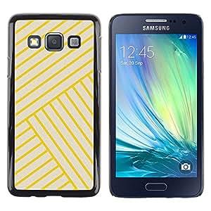 Amarillas de oro azulejos amarillos Bling Líneas- Metal de aluminio y de plástico duro Caja del teléfono - Negro - Samsung Galaxy A3