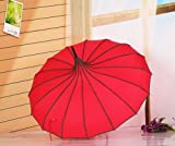Red Stunning Pagoda Design Windproof Rain Umbrella 6 Colors Uv Protection Parasol