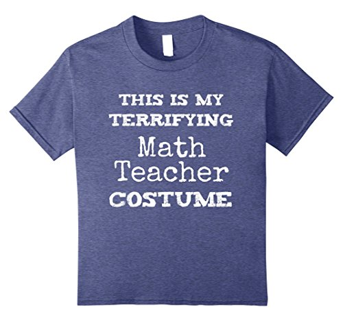 Kids Funny Halloween Costume Scary Math Teacher Shirt 8 Heather Blue