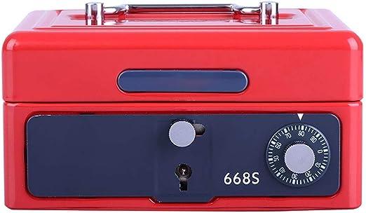 Liuzecai Niños Money Bank La Clave de Bloqueo de aleación de Aluminio de fundición de Metal portátil pequeña cámara acorazada de batería Efectivo Financiero Hucha (Color : Red, Size : 152x118x75mm): Amazon.es: