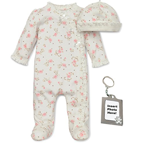 Little Me Baby Girl Rose Print Sleep N Play Cap & Keychain Off White 6 Mth -