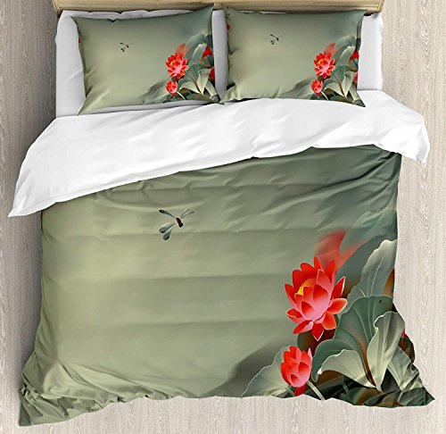 (Dragonfly Bedding Sets, Traditional Japanese Painting with Lotus Blooms in Hazy Tones Asian Design, 4 Piece Duvet Cover Set Quilt Bedspread for Childrens/Kids/Teens/Adults, Red Reseda Green,Twin Size)