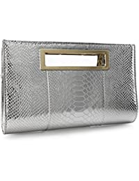 Classic Crocodile Pattern Faux Patent Leather Metal Grip Cut it out Clutch  with Shoulder Strap Womens 7c0580a760