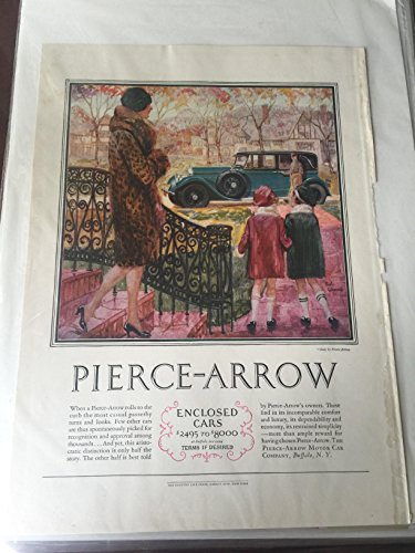 Vintage Original Advertising fro Country Life magazine from the 1920's. Featuring Pierce-Arrow enclosed -