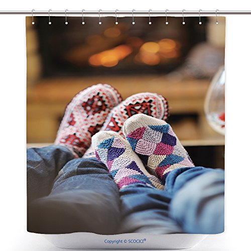 Decorative Shower Curtains Happy Young Romantic Couple Sitting On Sofa In Front Of Fireplace At Winter Season In Home 100068365 Polyester Bathroom Shower Curtain Set With Hooks