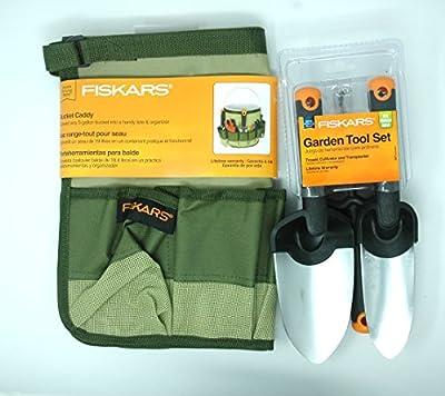 Fiskars Gardening Tools Set - Trowel, Cultivator, Transplanter & Garden Bucket Included in the Garden Tool Kit