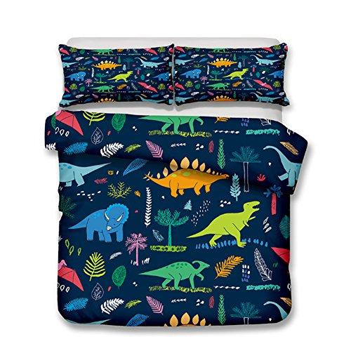 alibalala Kids Cartoon Bedding Sets, Dinosaurs Bedding for Boys Duvet Cover Set 100% Polyester 3-Piece King Size (No Comforter Included)