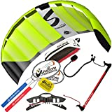 HQ Symphony Pro 1.8 Kite Neon Green w Control Bar Bundle (4 Items) + Peter Lynn 2-Line Control Bar w Safety Leash + WindBone Kiteboarding Lifestyle Stickers + WBK Key Chain – Foil Stunt Trainer Kit