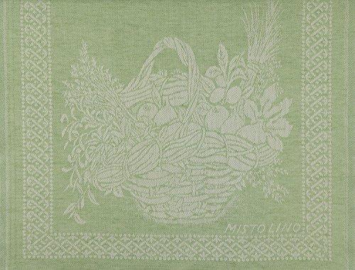 Tessitura Pardi Cesto (Basket) Green Misto Linen Italian Kitchen Tea Towel ()