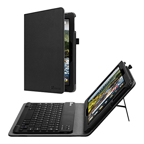 Fintie Verizon Ellipsis 10 HD 2017 Keyboard Case - Slim Fit PU Leather Stand Cover with [All-ABS Hard Material] [Long Life Battery] Removable Wireless Bluetooth Keyboard, Black (Disney Tablet Carrying Case)