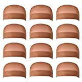 12 Pack Dreamlover Brown Nylon Wig Caps, Stretchy Close End Stocking Wig Caps, Brown