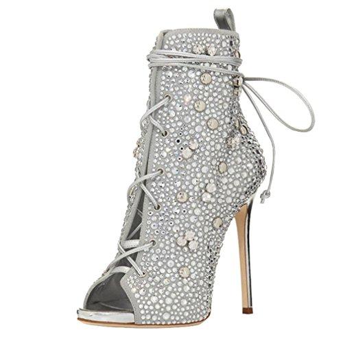ENMAYER Frauen High Heels Kreuz Strap Peep Toe Strass Party Kleid Sandalen Stiefel Silber