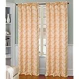 RT Designers Collection Garnet Jacquard Rod Pocket Curtain Window Panel, 54 x 90 inches, Peach