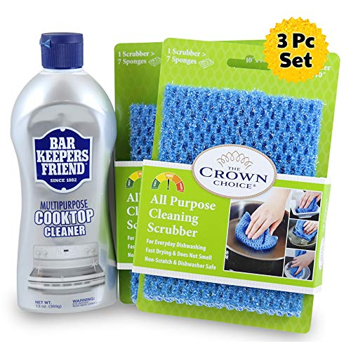 BAR KEEPERS FRIEND Cooktop Cleanser (13 OZ) with Two All Purpose Scrubber Cloth | Heavy Duty Glass, Range and Cooktop Cleaner