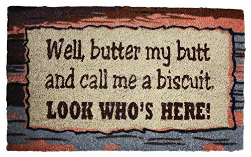 J & M Home Fashions Biscuit Vinyl Back Coco Doormat, 18 by -