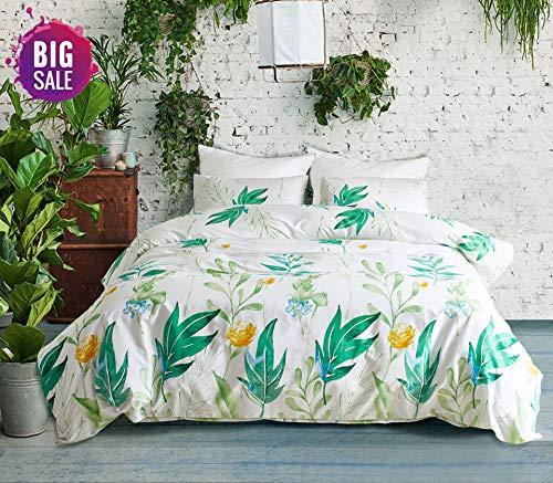 Elephant Soft Queen Duvet Cover Set, Premium Microfiber, Green Leaf Pattern On Comforter Cover-3pcs:1x Duvet Cover 2X Pillowcases,with Zipper Closure ()